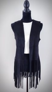 BLANK NYC Fringe Vest in Friday Fever | Black Sz S